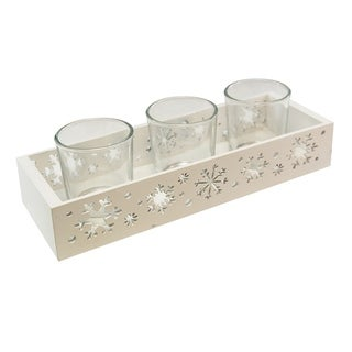 Snowflake Tray with 3 Glass Candle Holders