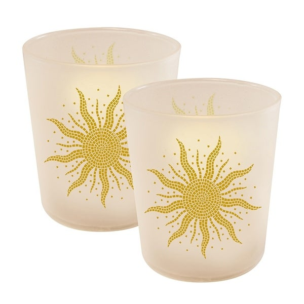 Mosaic Sun LED Candles in Glass Holders - Set of 2