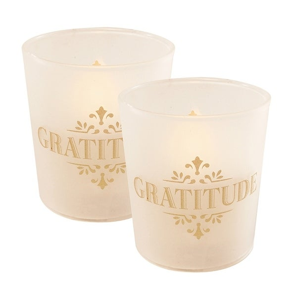 Gratitude LED Candles in Glass Holders - Set of 2