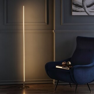 """Iris 59.5"""" LED Integrated Floor Lamp, Gold by JONATHAN Y"""
