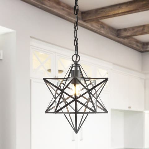 """Stella 13"""" Moravian Star Metal/Glass LED Pendant, Oil Rubbed Bronze by JONATHAN Y"""
