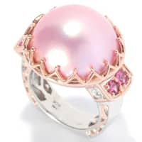 Michael Valitutti Palladium Silver Pink Mabe Cultured Freshwater Pearl & Pink Tourmaline Polished Ring