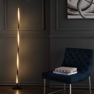 "Pilar 63.75"" LED Integrated Floor Lamp, Black by JONATHAN Y"