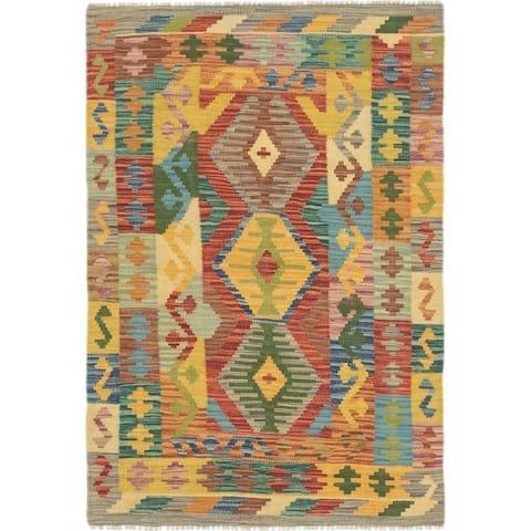 Hand Woven Kilim Maymana Wool Area Rug - 2' 9 x 4' 2