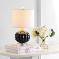 """Pearl 17.5"""" Glass/Crystal LED Table Lamp, Navy/Brass Gold by JONATHAN  Y"""