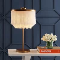 """Coco 27.5"""" Fringed/Metal LED Table Lamp, Gold/White by JONATHAN  Y"""