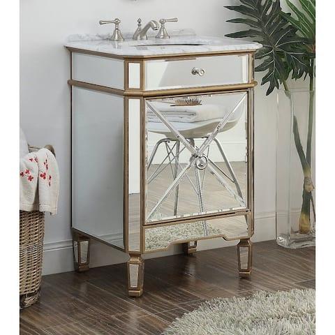 """24"""" Benton Collection Asger Powder Room Gold Bathroom Vanity"""