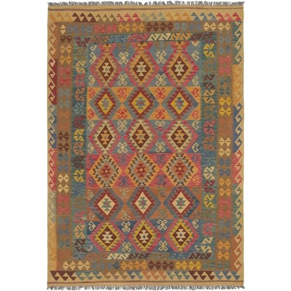 Shop Hand Woven Kilim Maymana Wool Area Rug 7 X 9 9 On Sale