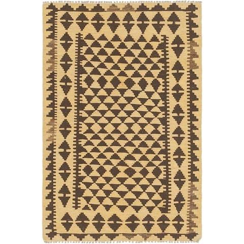 Hand Woven Kilim Maymana Wool Square Rug - 3' x 3' 8