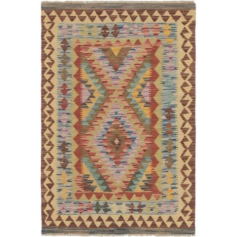 Hand Woven Kilim Maymana Wool Area Rug - 3' x 4' 10