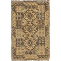 Hand Woven Kilim Maymana Wool Runner Rug - 2' 8 x 4' 3