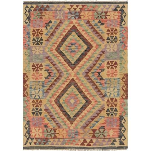 Hand Woven Kilim Maymana Wool Area Rug - 3' 4 x 4' 10