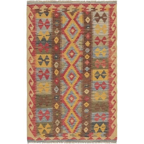 Shop Hand Woven Kilim Maymana Wool Area Rug