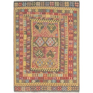 Hand Woven Kilim Maymana Wool Area Rug - Multi - 6' 10 x 9' 6
