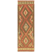 Hand Woven Kilim Maymana Wool Runner Rug - 2' x 6' 8