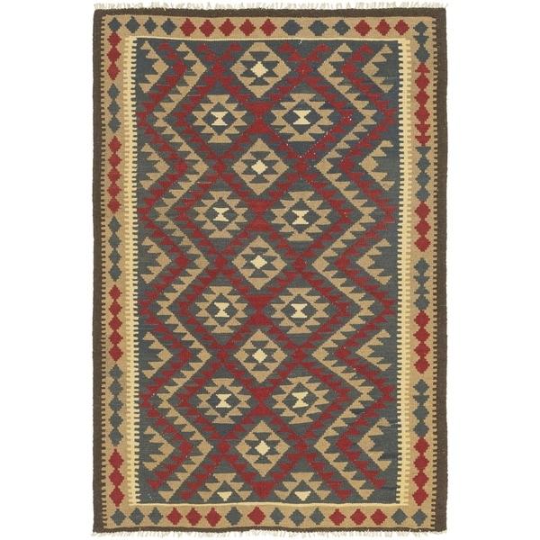 Shop Hand Woven Kilim Maymana Wool Area Rug 5 7 X 8 6 On Sale
