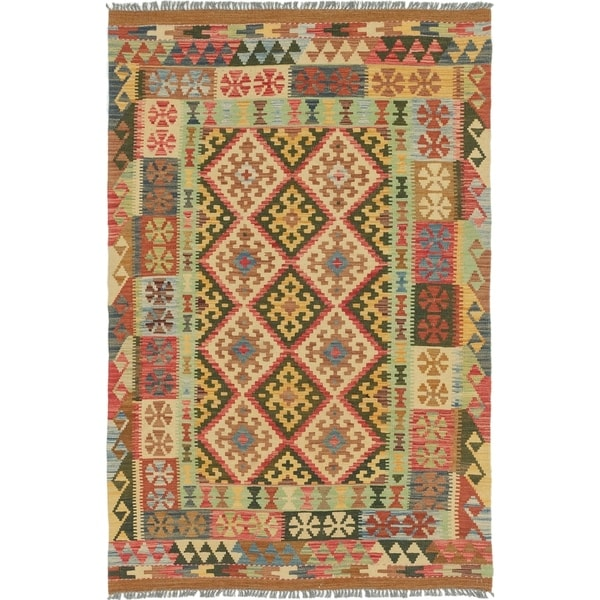 Shop Hand Woven Kilim Maymana Wool Area Rug
