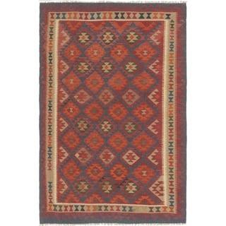 Hand Woven Kilim Maymana Wool Area Rug - 6' 7 x 9' 7