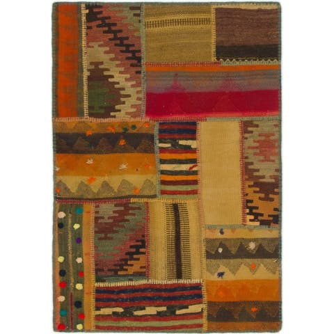 Hand Woven Kilim Patchwork Wool Area Rug - 2' 8 x 4'
