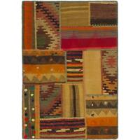 Hand Woven Kilim Patchwork Wool Area Rug - Multi - 2' 8 x 4'
