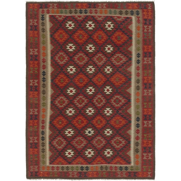 Hand Woven Kilim Maymana Wool Area Rug 7 X27 X