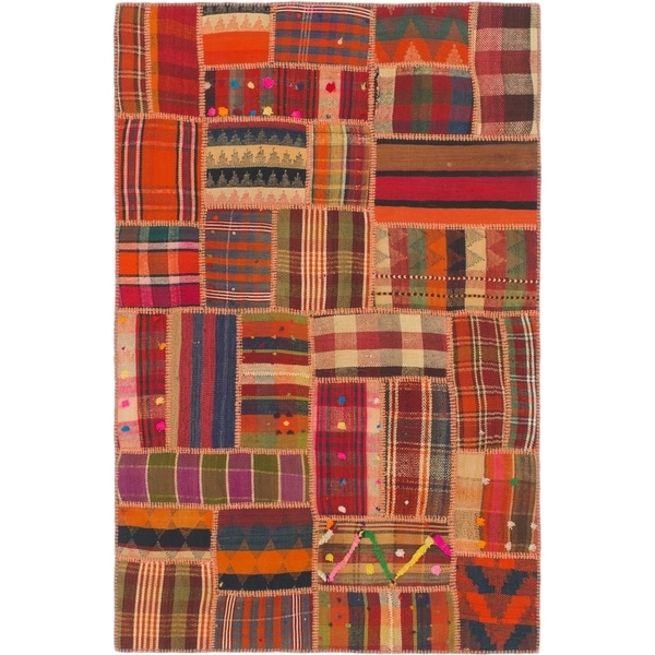 Hand Woven Kilim Patchwork Wool Area Rug - 4' x 6'