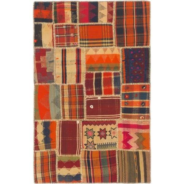 Shop Hand Woven Kilim Patchwork Wool Area Rug