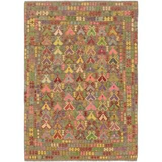 Hand Woven Kilim Maymana Wool Area Rug - 7' 7 x 11' 2