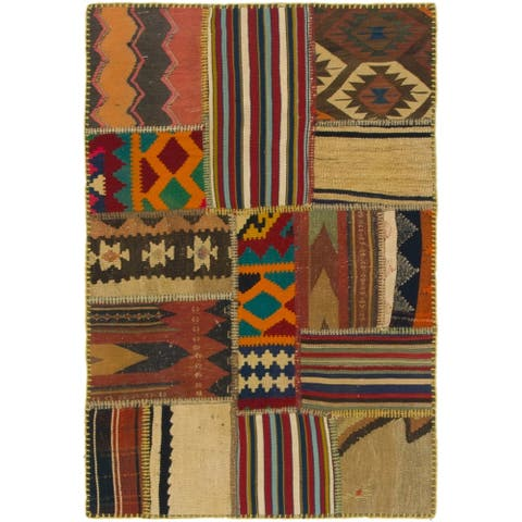 Hand Woven Kilim Patchwork Wool Area Rug - 2' 9 x 4'