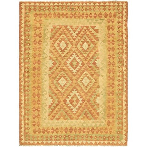 Hand Woven Kilim Waziri Wool Area Rug - 4' 10 x 6' 7