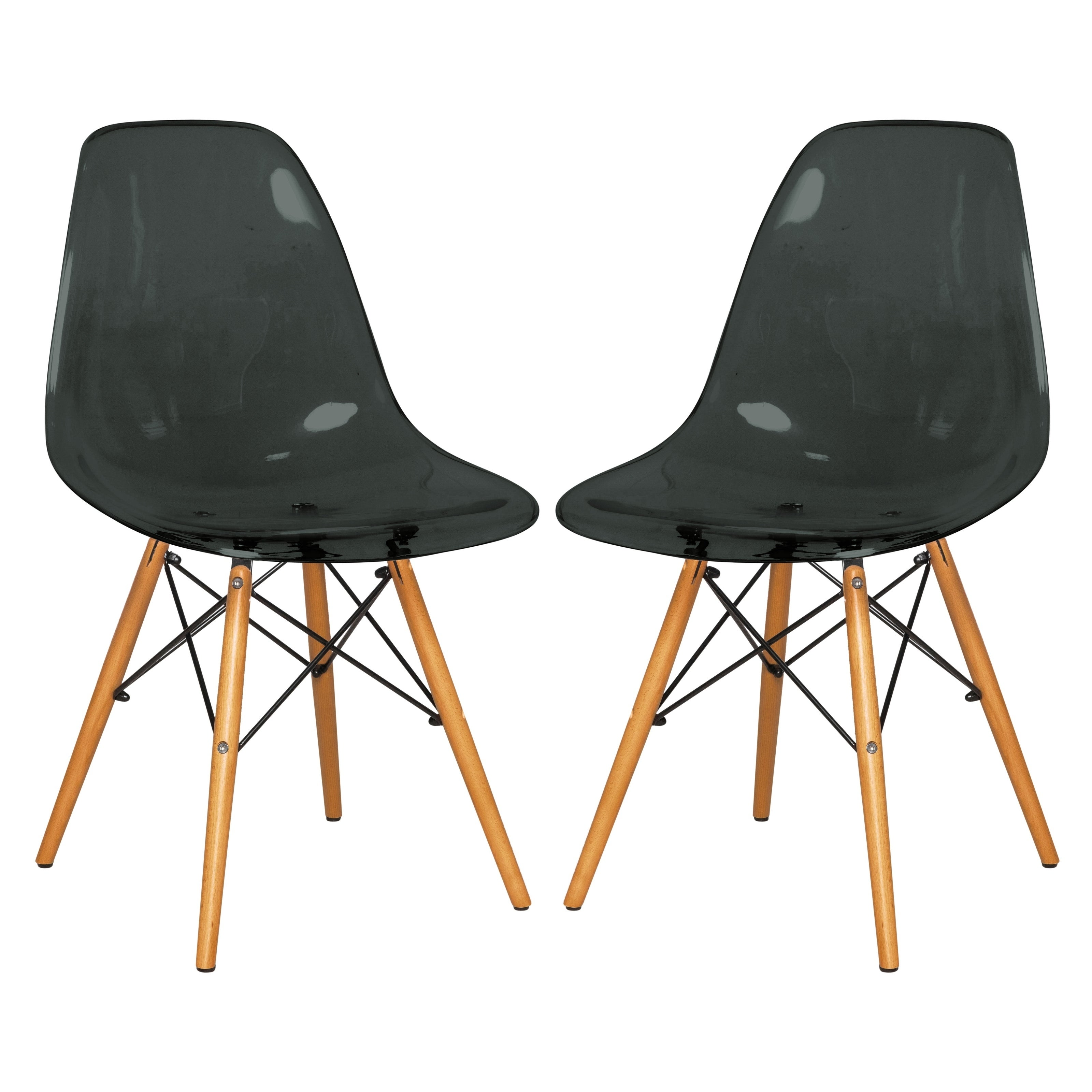 Pleasant Leisuremod Dover Transparent Black Dining Chair Eiffel Wood Legs 2 Set Dailytribune Chair Design For Home Dailytribuneorg