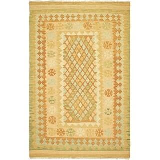 Hand Woven Kilim Waziri Wool Area Rug - 3' 3 x 5'