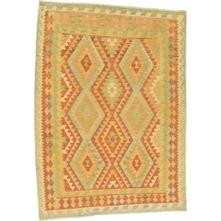 Hand Woven Kilim Waziri Wool Area Rug - 4' 1 x 5' 9