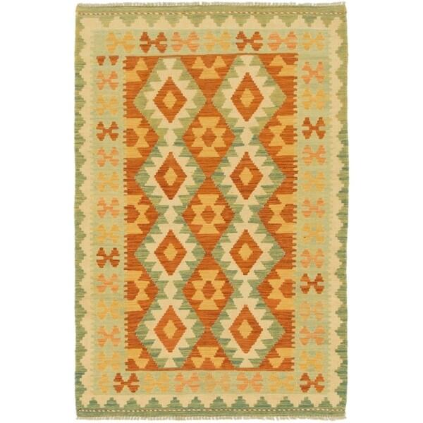 Shop Hand Woven Kilim Waziri Wool Area Rug