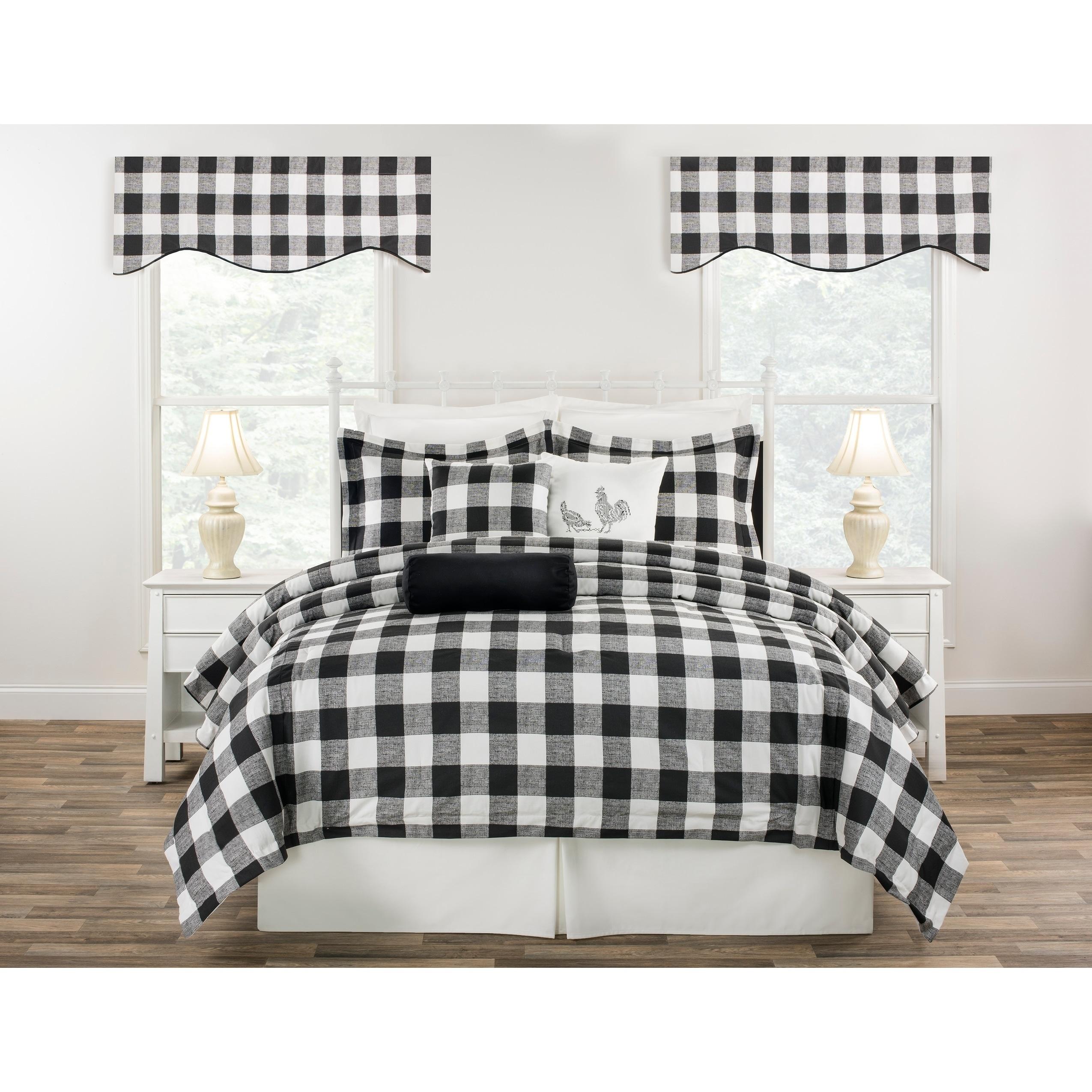 Cottage Classic Plaid Mini Comforter Set Black Blue Or Yellow Overstock 23620059