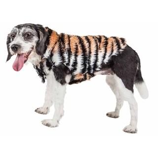 Pet Life Luxe 'Tigerbone' Glamorous Tiger Patterned Mink Fur Dog Coat Jacket