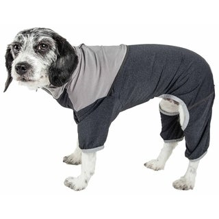 Pet Life ® Active 'Embarker' Heathered Performance 4-Way Stretch Two-Toned Full Body Warm Up