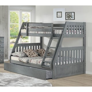 Solid Pine Twin/Full Bunk Bed with Twin Trundle in Charcoal