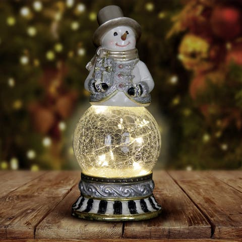 Snowman Firefly Globe with Timer - Holding Present