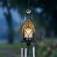 Solar Angel Glass and Metal Wind Chime