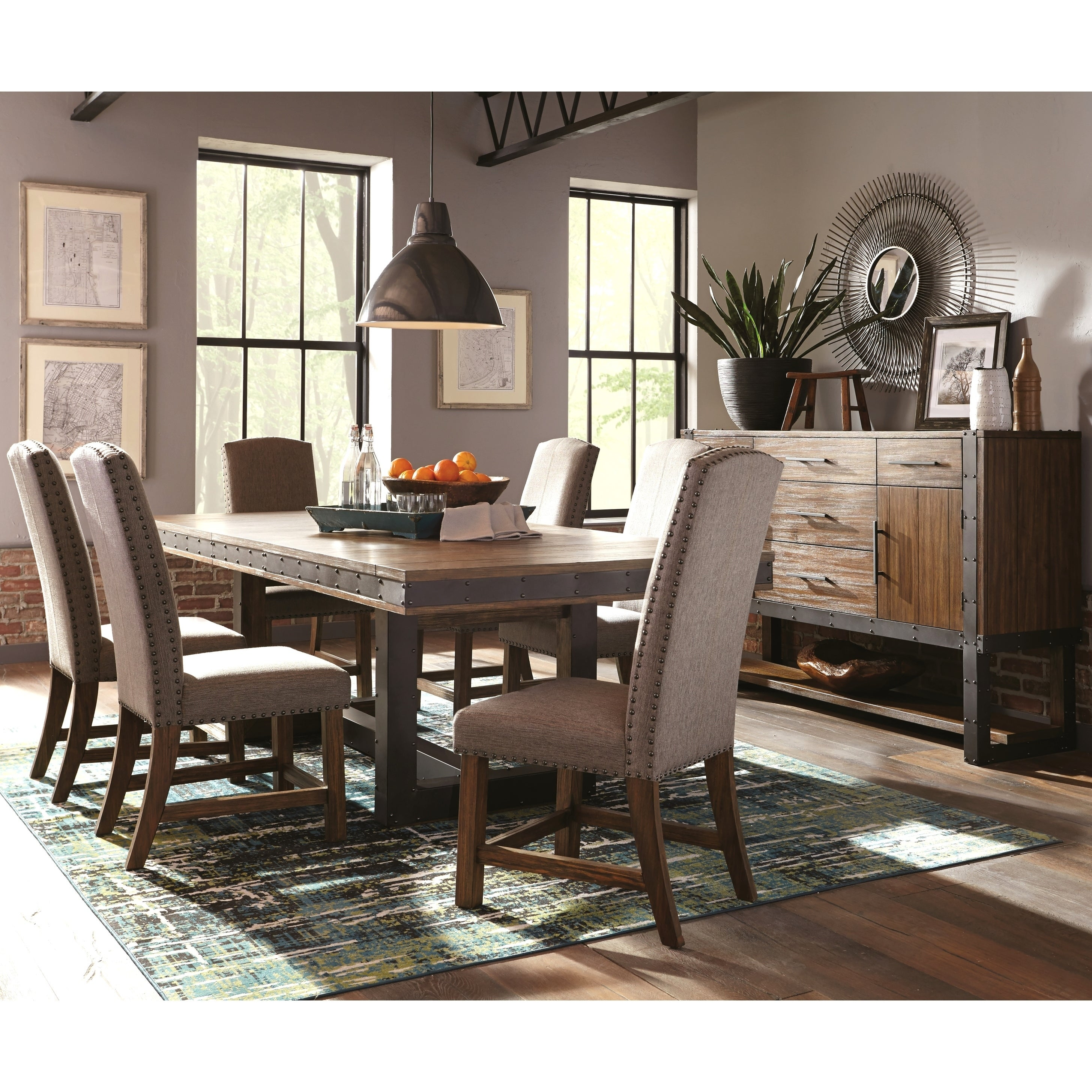 Industrial Rustic Design Metal and Wood Dining Set with Matching Storag  Server