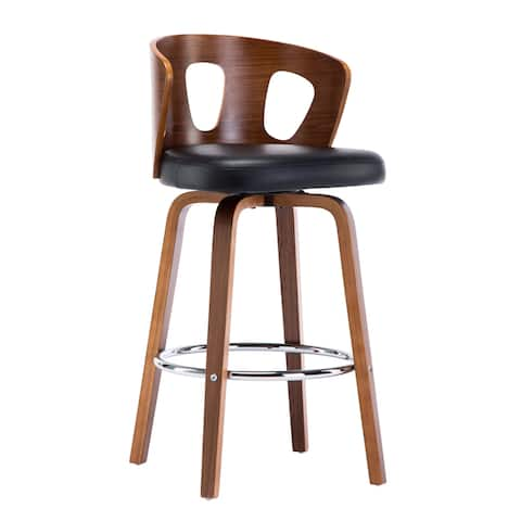 Mid-Century Black Faux Leather Wood Swivel Counter Stool