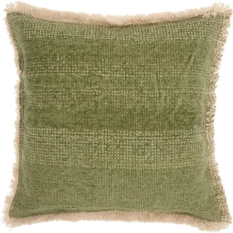 Mina Victory Boho Sage Green Jute Throw Pillow (18 -Inch x 18 -Inch)