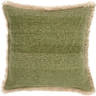 Mina Victory Boho Sage Green Jute Throw Pillow (18 -Inch x 18 -Inch)