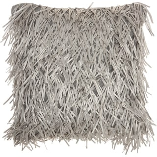 Mina Victory Handmade Silver Shag Throw Pillow (20 -Inch x 20 -Inch)
