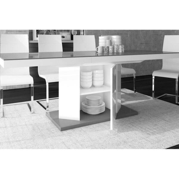 Amigo Storage Dining Table 160cm Top Grey High Gloss Leg White High Gloss Overstock 23620484