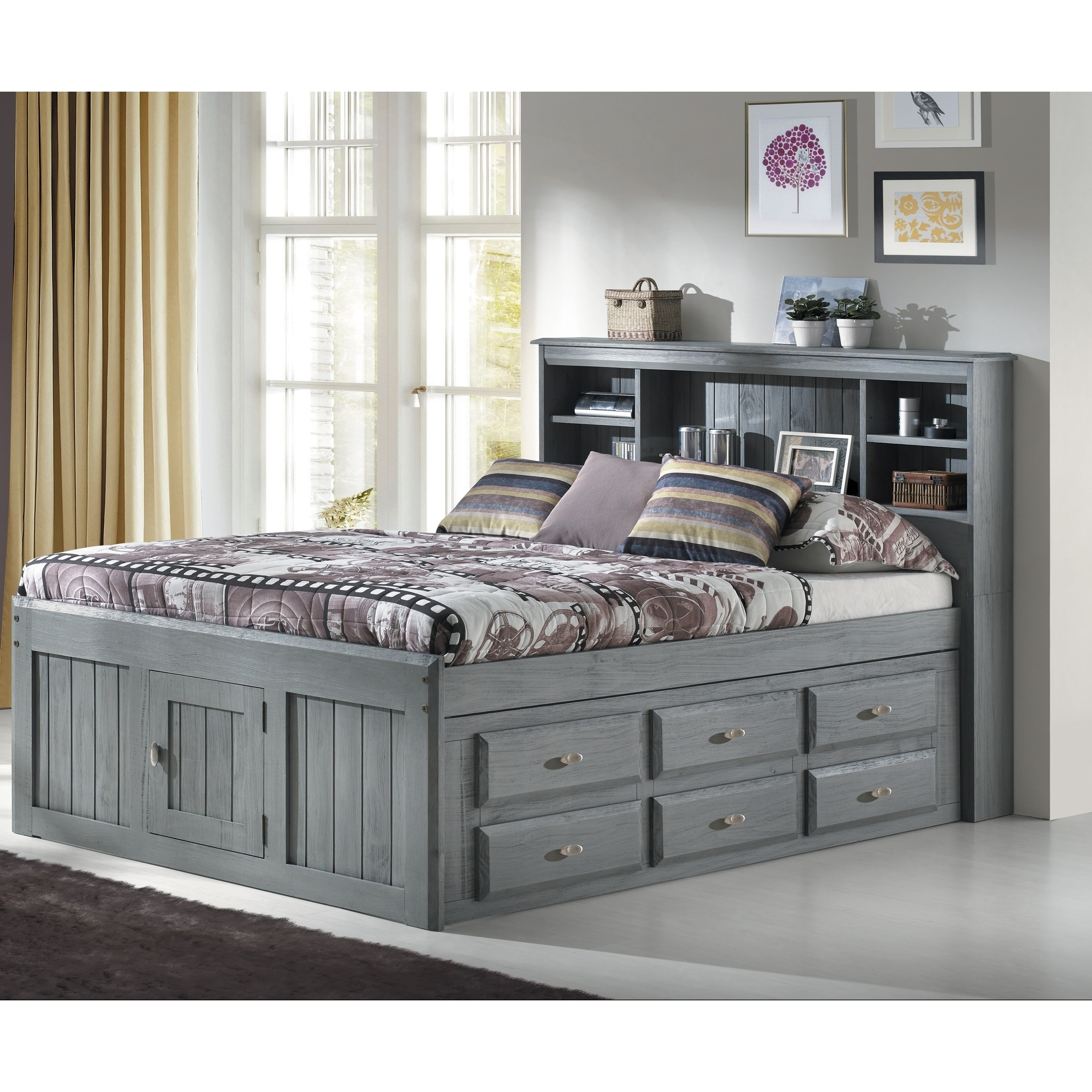 Shop Black Friday Deals On Charcoal Finish Solid Pine Full Captains Bookcase Bed With 12 Drawers Overstock 23620489