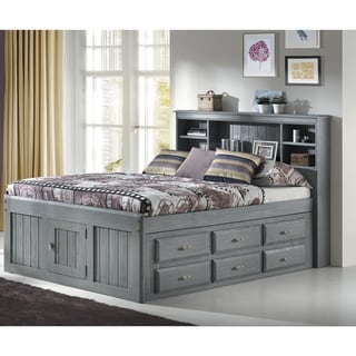 Solid Pine Full Captains Bookcase Bed with 12 drawers in Charcoal