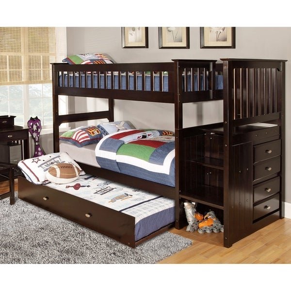 Shop Espresso Solid Pine Staircase Twin Over Twin Bunk Bed With 4