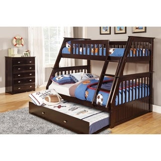 American Furniture Classics Model 2918-TFET, Solid Pine Staircase Twin/Full Bunk Bed with Roll Out Twin Trundle Bed in Espresso.